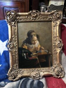 MASTER RENDITION OIL PAINTING ON PANEL VERMEER-THE LACE MAKER- IN ORNATE FRAME