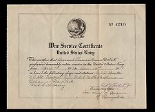 Ancillary WWI War Service Certificate US Navy B Connor & D.C. 1919  & Cover  8o
