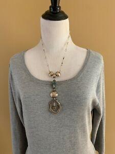 "Vintage Artisan Modern MCM Sterling Silver Necklace Stones 20"" Lavaliar 5"""
