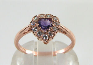 DAINTY 9CT 9K ROSE GOLD  AMETHYST DIAMOND ART DECO INS HEART RING FREE RESIZE
