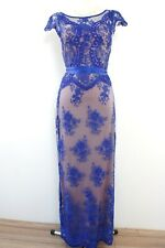 PHASE EIGHT BNWOT Blue Nude Lace Beaded Wedding Evening Maxi Dress Size 8 Petite