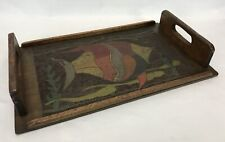 Antique Primitive Folk Art Hand Carved & Painted Fish Wood Serving Tray
