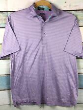 BYRON NELSON Mens LAVENDER/GREEN striped Golf  POLO shirt, Sz. Lg.