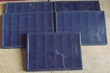 5 Plateaux bleu + couvercles pour 12 insignes, médailles, décorations militaires