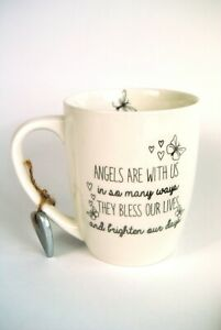 Mug Cup Angels Are With Us Sentimental White Ceramic Silver Guardian Heart Charm