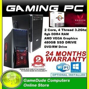 AMD 2/4 Core 3.2GHz Gaming PC Computer 8GB ram 480gb SSD AMD VEGA3 GFX DVD/RW