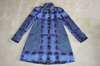 Burberry Brit Blue/Green Pattern Button Up Trench Coat Grey Womens UK 8 US 6