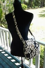 Black/Creme  Cross Body/shoulder bag with  zip - Hand made - Free Shipping (201)