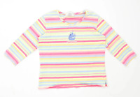 Top Threads Sportswear Womens Size S Striped Cotton Blend Multi-Coloured T-Shirt