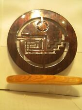 Geometric Asian Design Metal Plaque on Wood Stand, Signed Zion 2005
