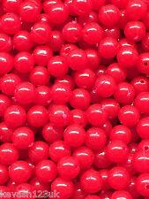100 x 8mm Red Beads + 20 Free 8mm Orange & Green Lumi Beads.120 Beads total.