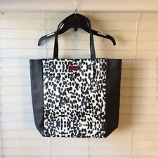 Victoria's Secret Black White Cheetah Leopard Animal Print Shopping Tote Bag