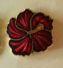 "CLOISONNE RED GOLD FLOWER DESIGN SHANK BUTTONS Designed by E. Duerr 3/4"" (B14)"