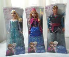 "Frozen Sparkle Doll Elsa Anna Kristoff Classic 12"" Disney Movie Set Lot of 3 NEW"