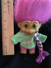 Cute Pink Hair 4 Inch Russ Troll Doll -Born to Ski