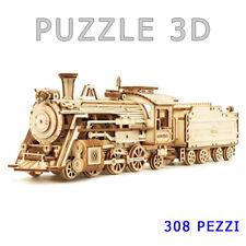 Puzzle 3D legno collezione modellino scala 1:80 treno vintage locomotiva+vagone