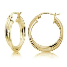 Gold Flash Silver Square-Tube Intertwined 25mm Double Round Hoop Earrings