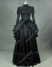 Gothic Victorian Black Dress Steampunk Witch Vampire Halloween Costume N 324 XXL