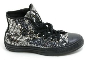 688 Schnürschuh Damenschuhe Schuhe Boots Converse Century Schwarz Pailletten 37