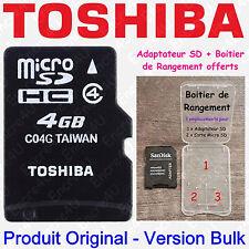Carte Mémoire Micro SD SDHC TOSHIBA 4 Gb Go - Dispo aussi en 8 16 32 ou 64 Giga