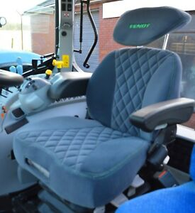 Fendt Grammer Maximo Dynamic Tailored Seat Cover Grey & Green Fabric With Logo