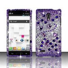 LG Optimus L9 Optiumus Crystal Diamond BLING Hard Case Phone Cover Purple Silver