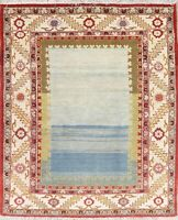 Vintage Geometric Oriental Area Rug Wool Traditional Hand-Knotted Solid 5 x 6