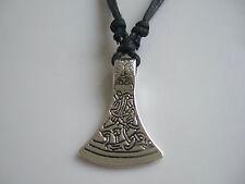"""Tibetan Silver Celtic Axe Head Pendant on Wax Cord Necklace For Men Women 18"""""""