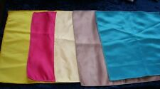 Lot 5 Silky Top Pocket Squares Handkerchief Yellow Hot Pink Cream Gold Jade Gree
