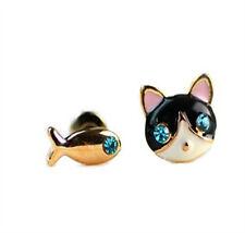 CUTE CAT & FISH NOVELTY STUD PIERCED EARRINGS JEWELLERY ENAMEL GIFT UK SELLER