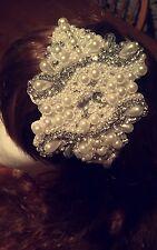 Perla y Diamante de Imitación Plata Hecha a Mano Gatsby Casco/Fascinator de la novia