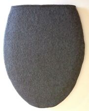 2 SIDED CHARCOAL GRAY FLEECE ELONGATED TOILET SEAT LID  COVER