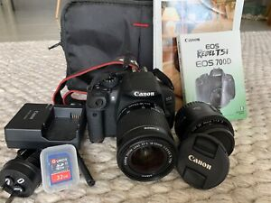 Canon EOS 700D - Digital SLR Camera + w/18-55 IS + 50mm f1.8 lens + Bag+SD cards