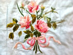 Lavishly Hand Embroidered Crib Quilt, Roses, Vintage, Hand Made