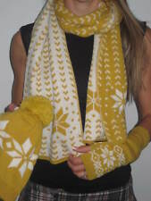Women's Fair Isle Scarf Snow Mustard Wool Blend Ski Hat Beanie +Hand Warmers Set