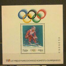 POLAND STAMPS MNH Fibl111 Sc3187 Mibl125 block - Olimpics Lillehammer, 1994, **