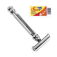 Parker 99R Safety Razor & 5 Double Edge Blades - Heavyweight Butterfly Open
