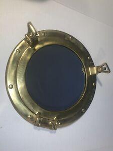 Vintage Porthole Mirror Maritime Aluminium Wall Mirror IN Gold Polished 11 13/16