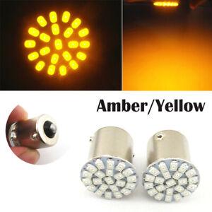2 pcs T20 1156 BA15S Amber 22SMD LED Turn Signal Lights Tail Light Bulb Fog Lamp