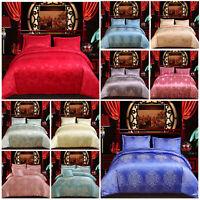 Luxury Jacquard Duvet Cover 4 Piece Satin Complete Bedding Set Double King Size