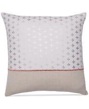 """Martha Stewart Quatrefoil Stamp Cotton Linen 18"""" Square Decorative Pillow H1072"""