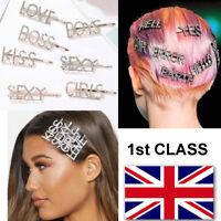 Diamond Slogan Words Letters Hair Clip Slide Barrette Hair Accessory UK SELLER