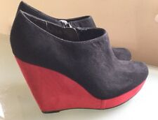 New Look Ladies Shoe Boots 4 New High Heel Wedge Red Black Ankle Blogger