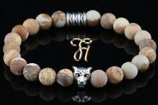 Paysage Jaspe Brun 8mm Bracelet Bracelet de Perles Argenté Tête de Léopard