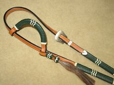 NEW Lovely DALE CHAVEZ Green Braided One Ear Western Headstall w/STERLING SILVER