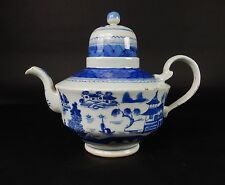 Large Blue & White Chinese Export Teapot Canton Pattern 19th Ct. 11.5 inches