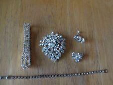 vintage rhinestone lot regency pin brooch lot bracelet, earring,
