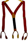 COLE HAAN Suspenders Red Blue Tan Leather Brass Braces Stretchy Patriotic