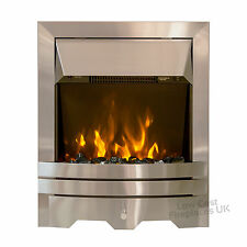 ELECTRIC SILVER FLAT FLUSH WALL FIREPLACE PEBBLE COAL 2kw FIRE LED FREESTANDING