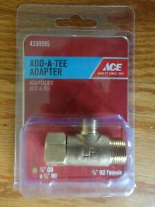 "ACE 4308995 Add A Tee T Valve Adapter Threaded Brass 3/8"" OD Female 3/8"" x 1/4"""